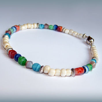 Multicoloured Beachy Bracelet - cream, silver and colours (red, blue, green, aqua, mauve) with magnetic clasp