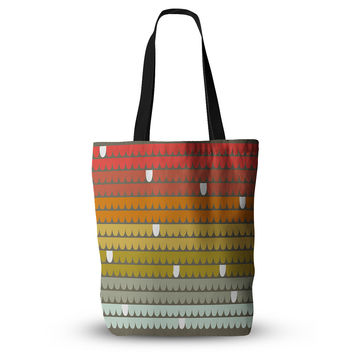 "Pellerina Design ""Rainbow Scallops"" Red Orange Everything Tote Bag"