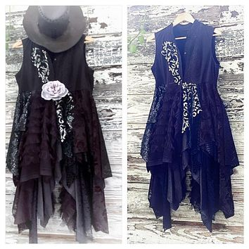Stevie Nicks Belladonna lace dress jacket, Gypsy spell floating kimono M L