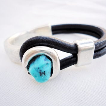 Leather Bracelet. turquoise, Half Hook Silver cuff, bracelet for men or women