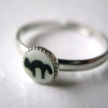 Black Cat Ring Cat Stacking Ring Thin Silver Black White Black Kitty Adjustable Ring Polymer Clay Cat Stacking Ring Set Halloween Jewelry