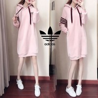 """ Adidas"" Women Casual Fashion Gold Velvet Stripe Long Sleeve Hoodie Sweater Dress"
