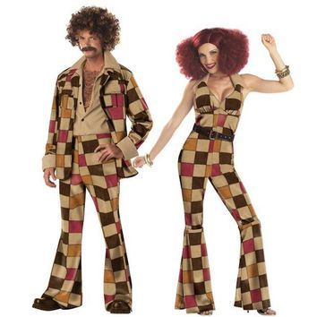 ONETOW Woodstock Mens & Woman Hippie Fancy Dress Costume 60s 70s Hippy Outfit