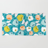Butterfly Blossom Floral Turquoise Beach Towel by heatherduttonhangtightstudio