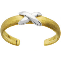 Solid 14K Yellow White Gold X Toe Ring | Body Candy Body Jewelry
