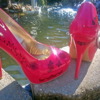 Butterflies, Hearts, Flowers, Tribal - Tattooed Shoes - Pink Patent Leather - Decorated Custom Heels