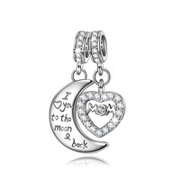 NinaQueen Mom I Love You to the moon&back 925 Sterling Silver Cubic Zirconia Dangle Heart Charms