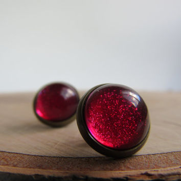 Red glitter earrings, red earrings, stud earrings, post earrings