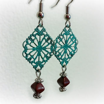 Filigree Earrings, Silver Earrings, Turquoise Patina Earrings, Masala Wine Red Earrings, Boho Earrings, Gypsy Earrings, CLASSIC Collection
