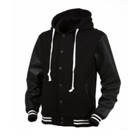 Angel Cola Black & Black Hoodie Varsity Cotton & Synthetic Leather Baseball Letterman Jacket (XLarge)