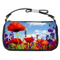 Poppies And Wild Flowers Handbag Shoulder Bag Black Leather