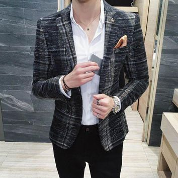 DCCKON3 Envmenst 2017 New Style Autumn Leisure Blazer Men Suits Coat Single Button Suit High Quality Men Plaid Jacket