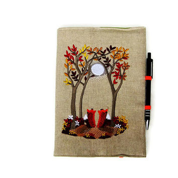 A5 notebook and pen, gift set, reuseable notebook cover, embroidered linen Autumn / Fall woodland moonlight scene with two foxes .