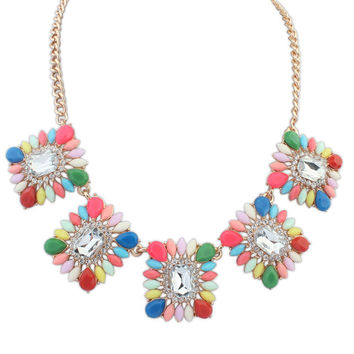 Stylish Water Droplets Gemstone Floral Necklace Sweets Accessory Sponge [4918842884]