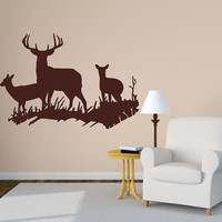 Wall Decal Deer in Grassy Meadow Style D Vinyl Wall Decal 22329