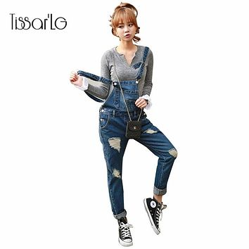 New Spring Denim Jumpsuits Women Vaqueros Romper Long Pants Bleached Scratched Ripped Jeans Overalls Suspender Female Catsuit