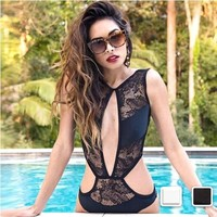 Magnetic Mesh Backless Swimsuit