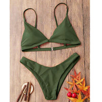 Hot sale simple straps pure color Army green two piece bikini swimsuit set for women 8 color