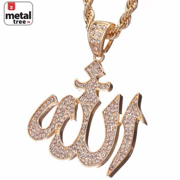 """Jewelry Kay style Men's 14k Gold Plated Iced Out Allah Sign Pendant 30"""" Chain Necklace HC 5019 G"""