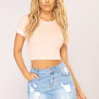 Flirty Girl Ribbed Top - Pink