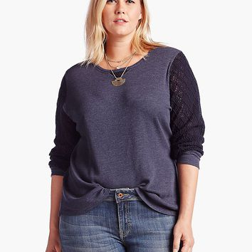 Lucky Brand Thermal Mixed Pullover Womens