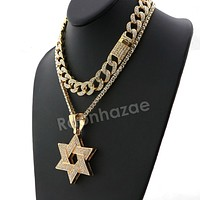 Hip Hop Iced Out Quavo Star of David Miami Cuban Choker Tennis Chain Necklace L31