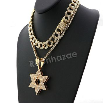 Hip Hop Quavo Star of David Miami Cuban Choker Tennis Chain Necklace L31