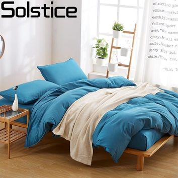 Solstice Home Textile Simple Purple Black Blue Solid Color 3/4 Pcs Bedding Set Duvet Cover Microfiber Bed Set Autumn Bedclothes