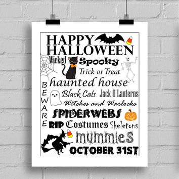 Happy Halloween Word Art Print Black and White Text - Halloween Themes Printable Holiday Home Decor Wall Art (JPG/PDF) 8x10