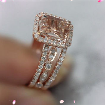 3 Ring Set 14k Rose Gold 6x8mm Pink Morganite Ring SI/H Diamonds Engagement  Ring
