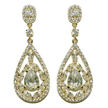 Tamara Art Deco Cluster Gold Dangle Earrings | 6ct | Cubic Zirconia | Gold