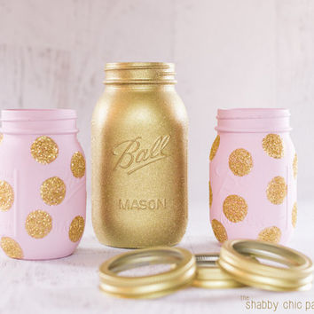 pink and gold birthday - gold glitter mason jar set - pink and gold first birthday - baby shower centerpiece - princess party
