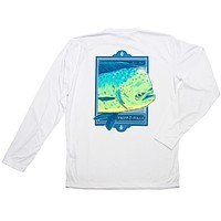 Mahi Close Up Long Sleeve Wicking Tee Shirt in White by Fripp & Folly - FINAL SALE