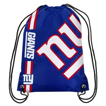 NFL NY New York Giants Big Logo Side Stripe DrawString Backpack Backsack Bag