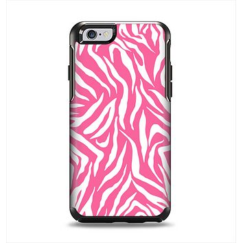 The Pink & White Vector Zebra Print Apple iPhone 6 Otterbox Symmetry Case Skin Set