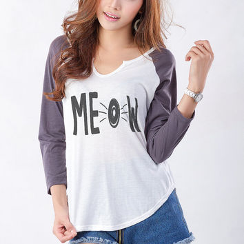 MEOW Cat Shirt Baseball Tees for Women Graphic T Shirt