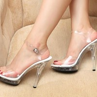 Women Transparent High Heels Sandals Platform Shoes