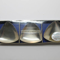 Hanson Stainless Denmark Mini Triangular Footed Trays Candle Holders Set of 3 in Box