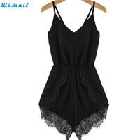 Womail Newly Design Women Strap Sleeveless Lace Chiffon Party Jumpsuit Rompers Playsuit Dec30