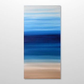 Large 18 x 36 Abstract Seascape Painting - Original Modern Canvas Acrylic Landscape Beach Wall Art Decor - Blue, Beige, White- Vertical Tall