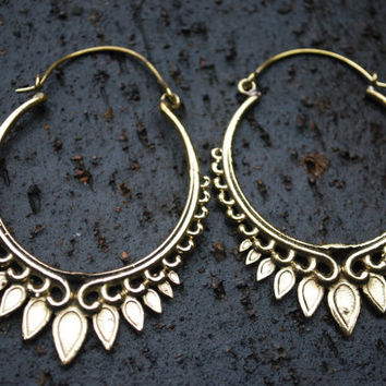LotusTribal Earrings/Unique Earrings/Brass Earrings/Lalaboho Earrings/Indian Jewelery/Tribal Earrings/Tribal Jewelery/Brass Hoop Earrings 20