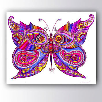 Butterfly Painting Canvas Print, Christmas gift idea Butterfly Drawing Poster, Paisley Zentangle Art Boho wall decor Living Room Wall Art