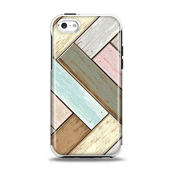 The Zigzag Vintage Wood Planks Apple iPhone 5c Otterbox Symmetry Case Skin Set