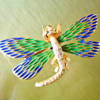 JJ Dragonfly Brooch-Pin Blue Green Enamel Vintage Goldtone