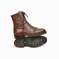 Vintage Brown Leather Logger Work Boots - Men's Boots - size 10