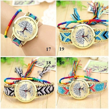 Weave Dreamer Elephant Feather Heart Life Tree Weave Watches Bohemia Ethnic Wristwatch [8069817479]