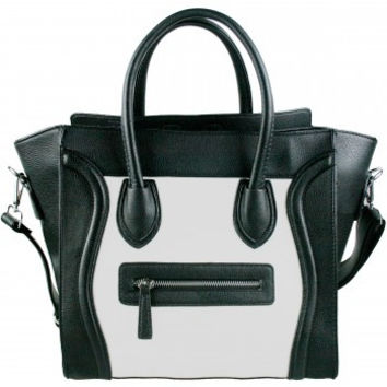 Structured Black and White Smile Tote Handbag