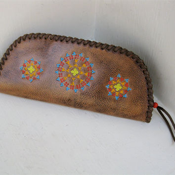 Navajo Bag Clutch Native American Hand Tooled and by karenkell