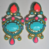 JASMINE soutache earrings in neon pink and turquoise