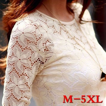 2016 Spring Women Lace shirt Fashion Long sleeve hollow blouse shirt